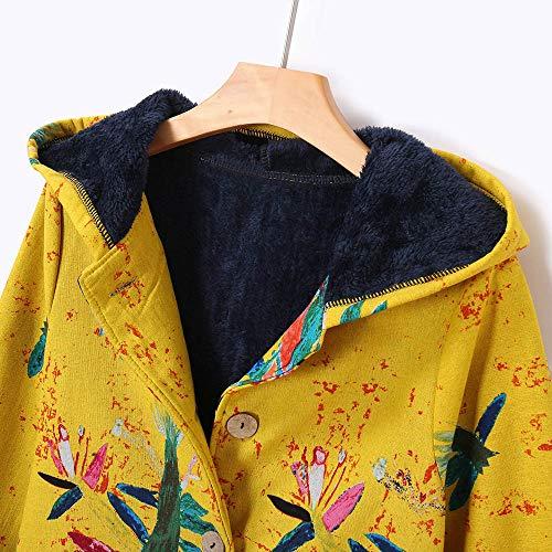 Abrigos Invierno Estampado Floral Amarillo Mujer Con Para Gran YE6qx6ZwO