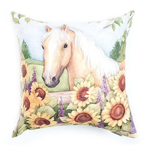 Manual Woodworkers Blooms and Horses Pillow, Palomino