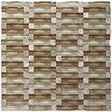 Sherry Ripple Series Neutral Beige 3D Wave Backsplash Glass Stone Mosaic Tile for Kitchen Bathroom (1 Box / 8 Sheets)