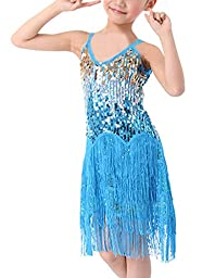 MFrannie Girls Latin Glitter Sequin Flowing Tassel Dancing Tank Dress Lake Blue 5-7T