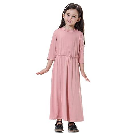 feiXIANG Vestido Lindo de Las niñas Vestido de la Princesa del bebé Niño musulmán Color sólido