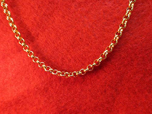 (Werrox 7-84 4MM Stainless Steel Gold ROLO Chain Necklace Gold | Model NCKLCS - 7799 | 26)