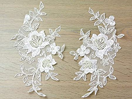 Mm beaded ivory couture bridal lace applique per matching
