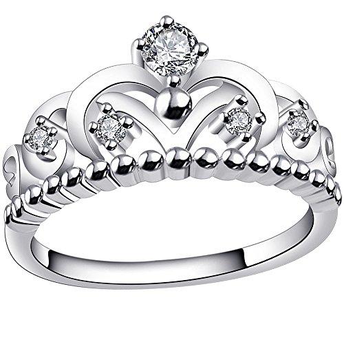 BOHG Jewelry Womens Fashion Silver-Plate Cubic Zirconia CZ Cute Princess Crown Tiara Ring Wedding Band (4)