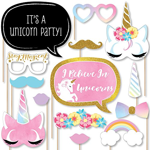 Rainbow Unicorn - Magical Unicorn Baby Shower or Birthday Party Photo Booth Props Kit - 20 - Photo Booth Paper
