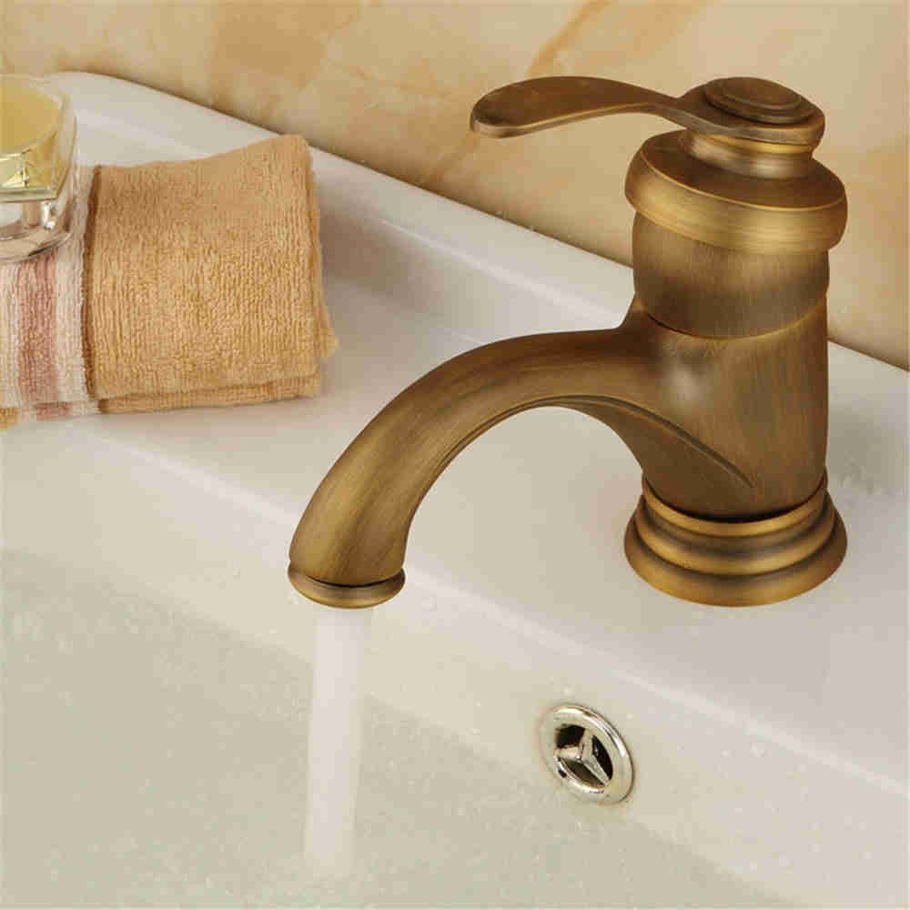 A The brass faucets full copper single hole faucet antique high quality basin faucet, D.
