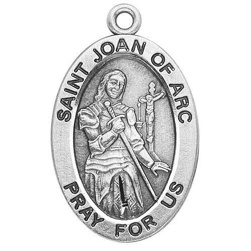 Catholic Necklace, Sterling Silver Oval Medal Necklace Patron Saint St. Joan of Arc with 18