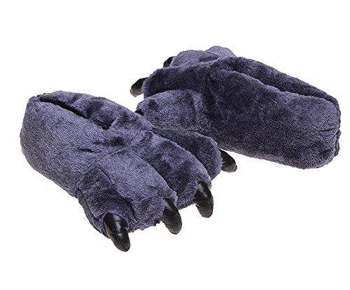 Tonwhar Grizzly Bear Paw Wool Leopard-print Slippers Cartoon Warm Slipper Dark Blue hYtjSEjT