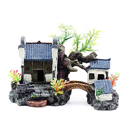 Classic Collection Pagoda & Plants Aquarium Ornament Fish Tank Decoration