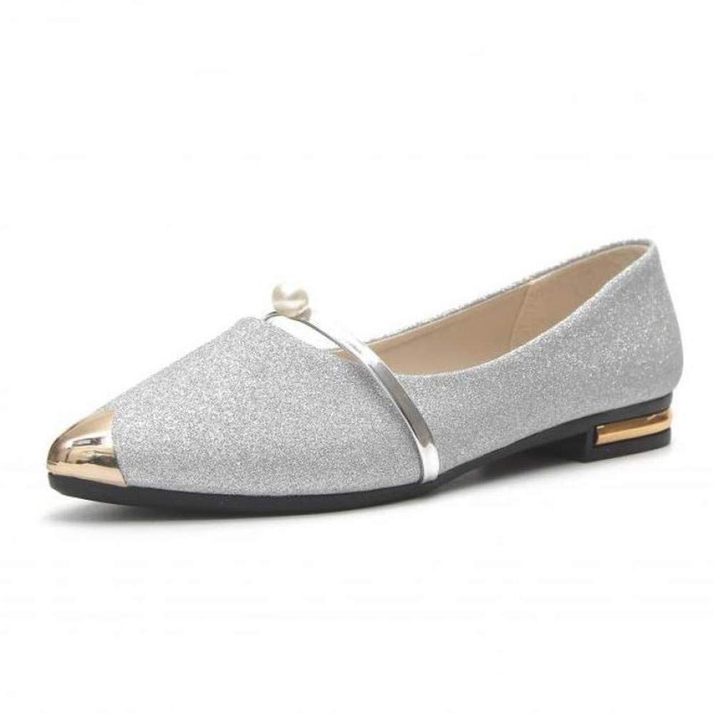 Spring New Ladies Flat Shoes Casual Women Comfortable Pointed Toe Shoessandals Sequined Cloth Summer