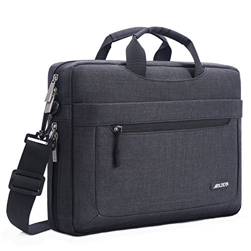 MOSISO Laptop Shoulder Bag Compatible 15-15.6 Inch MacBook Pro, Ultrabook Netbook Tablet with Adjustable Depth at Bottom, Polyester Messenger Briefcase Carrying Handbag Sleeve Case Cover, Black