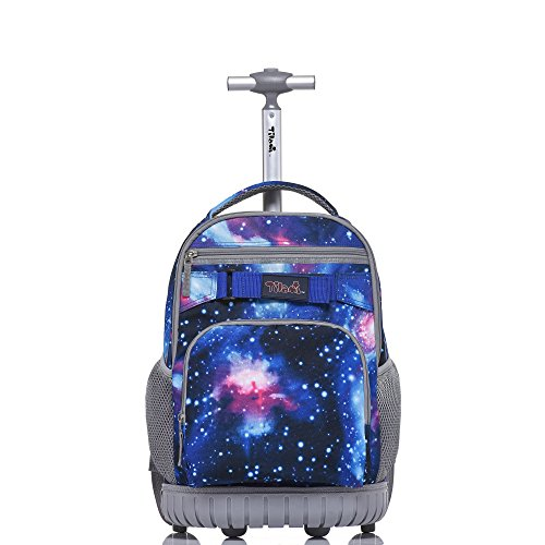 Tilami Rolling Backpack 18 inch for School Travel, Blue Galaxy