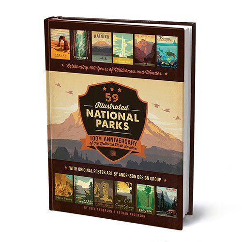 59 Illustrated National Parks - Hardcover: 100th Anniversary of the National Park (Owls Family Design)