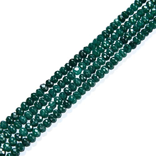 5 Strands Natural Emerald Green Quartz Gemstone 4mm Faceted Rondelle Spacer Loose Stone Beads (~ 500-525pcs Total) for Jewelry Craft Making GH1R-10