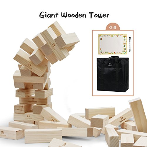 Lavievert Giant Toppling Timbers Wooden Blocks Game Stacking Blocks Stacking Tower For a Fun Outdoor, Lawn, Yard Game - 54 Pieces (Stacks up to 5+ feet. Ages - Tower Yard