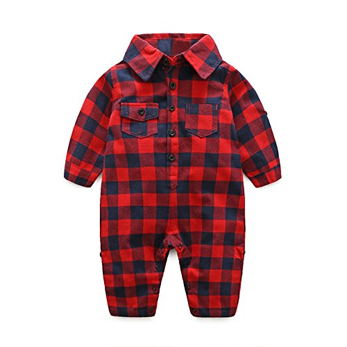 Infant Baby Boys Long Sleeve Button Down Plaid Flannel Romper Jumpsuit with Pocket Outfits (Red, 70/0-6 Months)