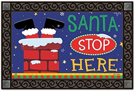 MatMate Santa Stop Here Christmas Doormat Holiday Humor Indoor Outdoor 18 x 30