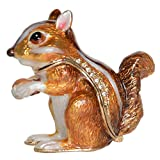 Jiaheyou Chipmunk Handmade Jeweled Metal Enamel Trinket Jewelry Box Animal Decoration Creative Gifts