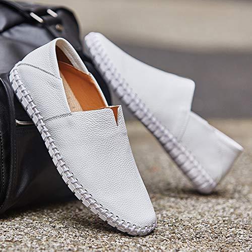 Blanc LOVDRAM Chaussures Hommes d'affaires Hommes en Cuir Chaussures Tout-Aller La Conduite en Cuir Souple Pieds Casual Chaussures De Conduite à Pédales Sauvages