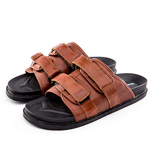 Beach Color 43 Flip Black PU Size Home Outdoor Mens Waterproof Sandals Shoes Brown Flops Slippers Swimming Brown xwTCaOtqYa
