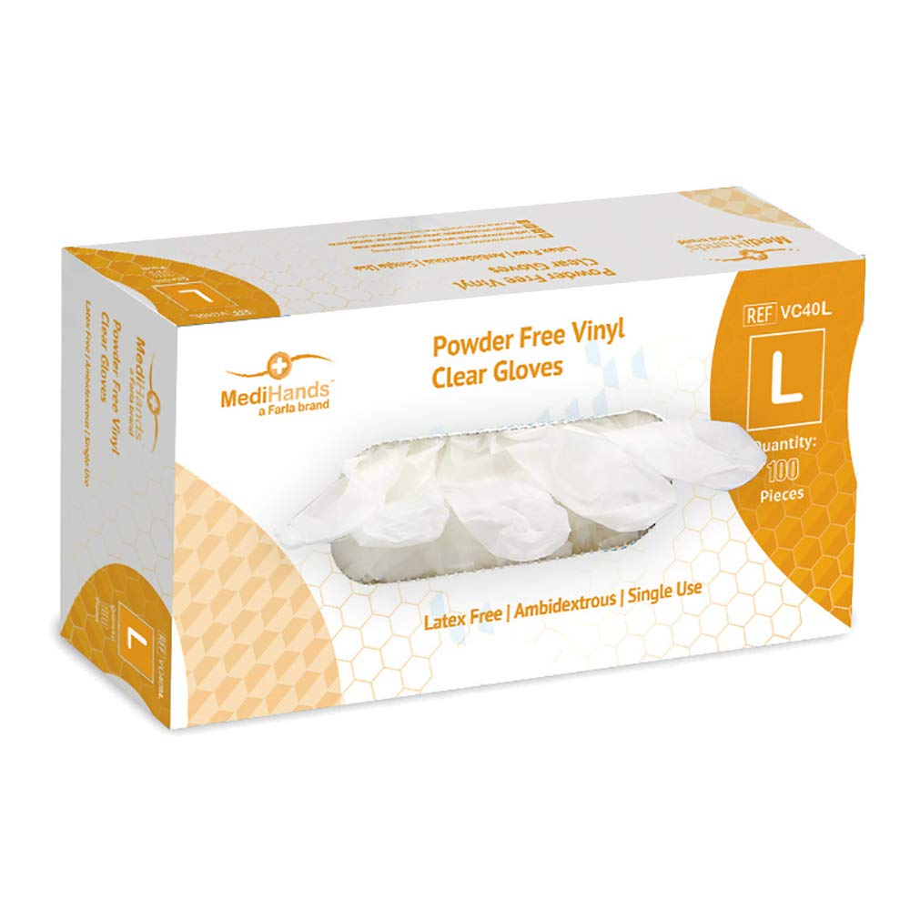 MediHands Vinyl Clear Gloves Pack of 100 X Large Powder Free