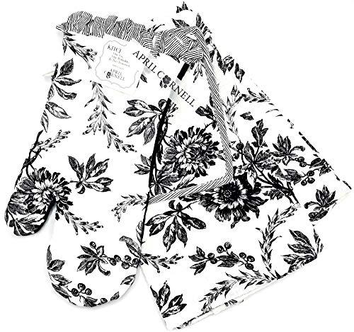 April Cornell Felicity Black Flowers Kitchen Set, Oven Mitt, Potholder, Tea Towel 4-Piece Set, Beautiful Sophisticated Floral Print in Black & White Design for Stunning Kitchen & Home Decor