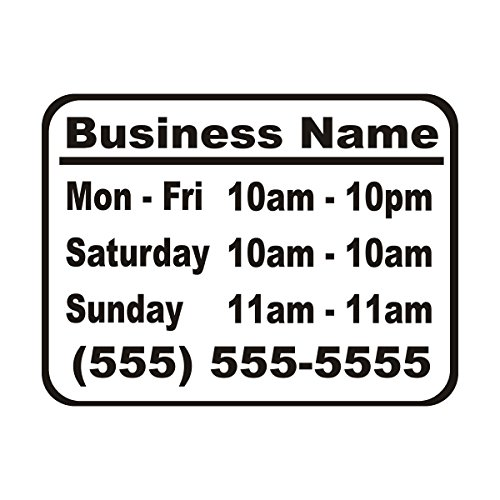 Wild Dingos LLC Business Hours Style 1 Size 10x13 Store Window Vinyl Decal Sticker Black