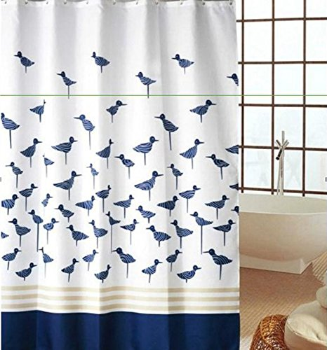 blue bird shower curtain - 7