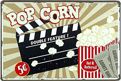 Nawilbi Designs Popcorn Custom Metal Tin Sign (12X8, Popcorn)