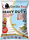 HEAVY DUTY 5 VACUUM STORAGE BAGS by Gorilla Bags, Extra Large 100x80cm. Extra Strong 110 Microns. For Clothes, Bedding, Duvets, Towels, Curtains and More. Double Zip Seal & Unique Turbo Valve Keeps Items Compressed For Longer!