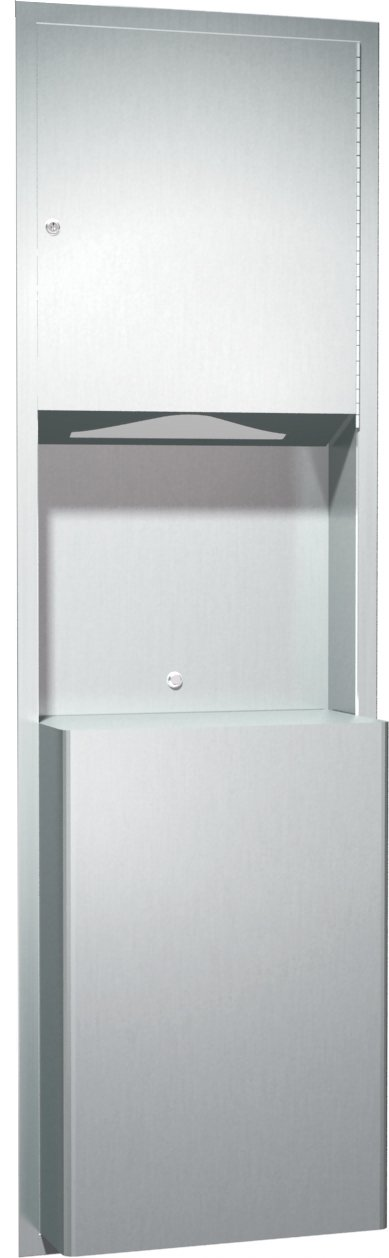 ASI 0469 Recessed Paper Towel Dispenser and Waste Receptacle