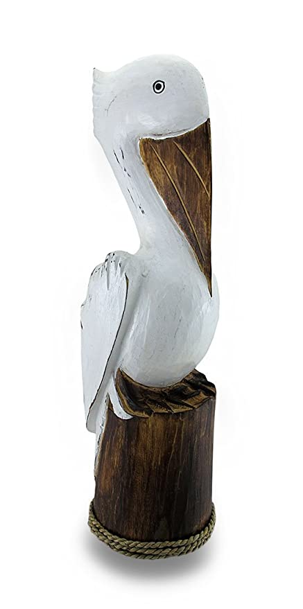 Zeckos Hand Carvedpainted Wooden Pelican On Piling Statue Coastal