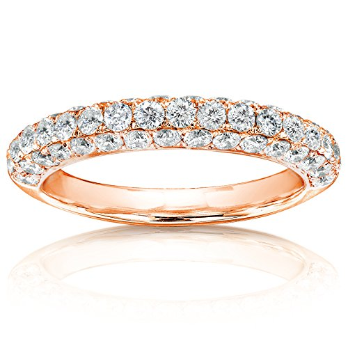 (Diamond Wedding Band 1 CTW in 14K Rose Gold, Size 6.5)