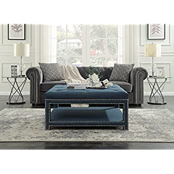 Iconic Home Bina Coffee Table Ottoman 2 Layer Polished Nailhead Tufted  Linen Bench, Blue
