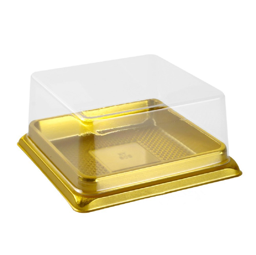 Hewnda 50 pieces of transparent plastic mini cake box muffins box cookies cookies muffins dome box wedding birthday gift box (3'' square gold)