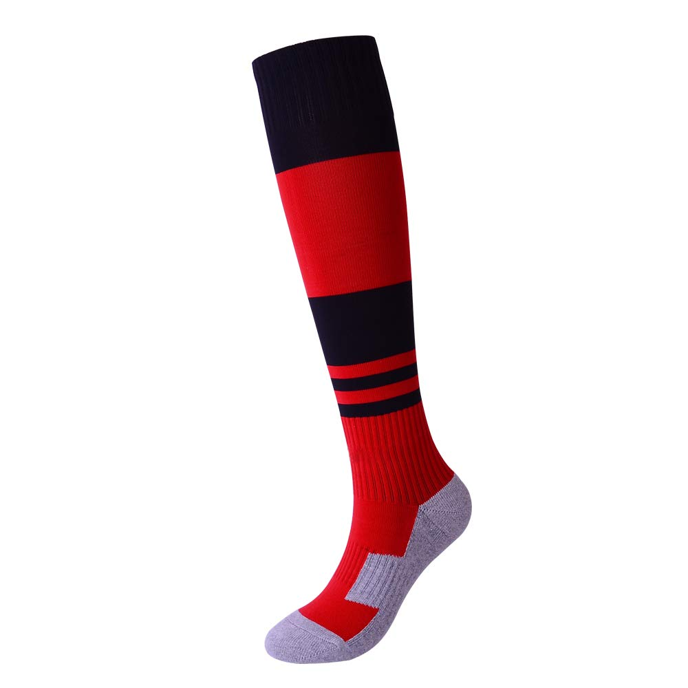 Kids Soccer Socks 1 Pack for Young Teen Boys Girls Knee High Striped Sports Team Socks Black A by Gupying