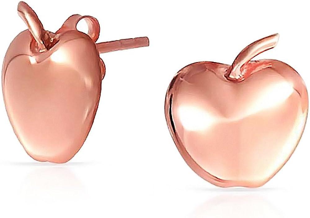 Fruit Teacher Pet Apple Of My Eye Apple Stud Earrings Stud Earrings For Women Teen Rose Gold Plated 925 Sterling Silver