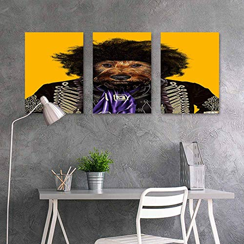BDDLS Pattern Oil Painting Art Sticker,Poodle Black Head on Yello Background for Home Decoration Wall Decor 3 Panels,16x31inchx3pcs (Black Sticker Poodle)