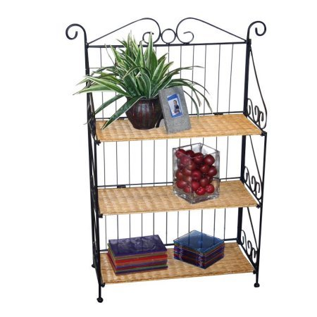Classy Looking Folding Three Tier Rectangular Durable Wicker and Stable Steel Shelves, Black Sturdy Metal Back and Sides Fold Open, Designed to Provide Years of Reliable Service + Expert Guide