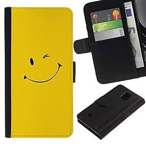 All Phone Most Case / Oferta Especial Cáscara Funda de cuero Monedero Cubierta de proteccion Caso / Wallet Case for Samsung Galaxy S5 Mini, SM-G800 // Yellow Smiley Face
