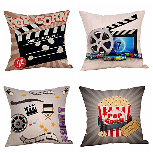 Steven.Smith Movie Theater Cinema Personalized Cotton Linen Square Burlap Decorative Throw Pillow Case Cushion Cover 18 Inch (4 Pack Cinema Popcorn) (Decorative Pillows Theater)