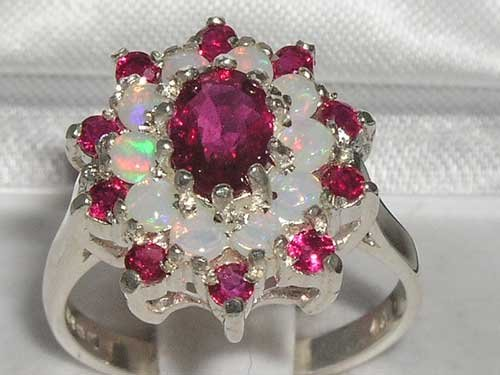 925 Sterling Silver Natural Ruby and Opal Womens Cluster Ring - Sizes 4 to 12 Available