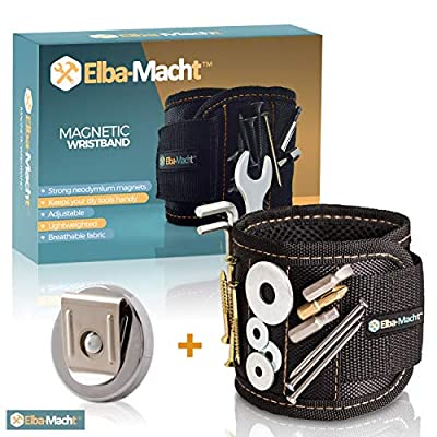 Magnetic Wristband - With Strong Magnets for Holding Screws, Nails, Drill Bits - Free Bonus : Magnetic Belt Clip - Best Tool Gift Set Idea - for Men, DIY Work, Handyman,Father/Dad, Husband