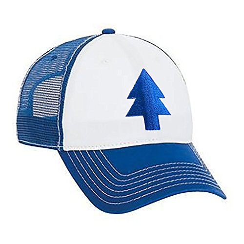 DIPPERS PINE TREE HAT - EMBROIDERED TRUCKER - blue - Unisex Snap -