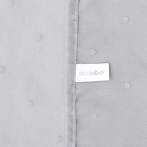 Deconovo Visillos Blancos Infantiles Sal/ón para Ventana Dormitorio Motivos Lunares con Ojales 140 x 180 cm Gris