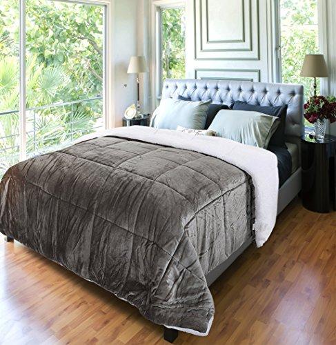 Utopia Bedding Comforter Sherpa Flannel (Queen) - All Season - Machine Washable - Luxury Goose Down Alternative - Reversible - Ultra Soft - Box Stitched