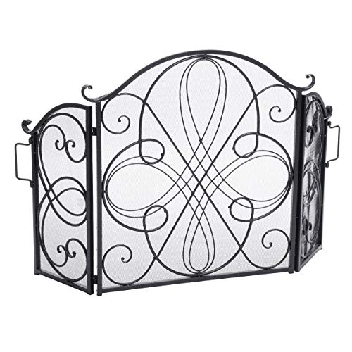 Christopher Knight Home Rosalinda Black Silver Finish Floral Iron Fireplace Screen