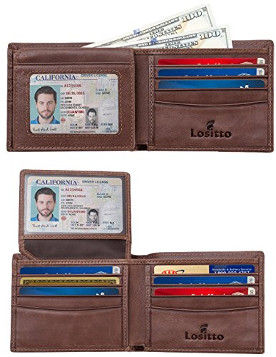 Lositto 2 ID Window RFID Wallet for Men, Bifold Wallet, Sleek and Stylish Gift for Men, Multi Card Extra Capacity Travel Wallet (Large, Chocolate Brown-Distressed full grain leather)