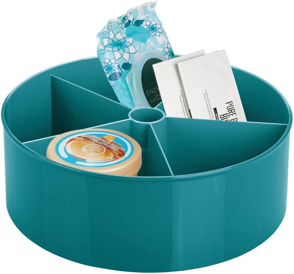 mDesign Deep Plastic Lazy Susan Turntable Storage Tray - Divided Spinning Organizer for Bathroom Vanity Countertop, Dressing Table, Makeup Station, Dresser - 5 Sections, Teal Blue