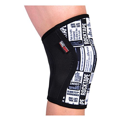 Rocktape Knee Sleeves, 2-Pack, Competition Grade, 5mm Thickness, Compression Neoprene, Extra Long for VMO Support, Manifesto, S